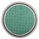 albena Marokko Galerie 15-143 Fero Marokkanischer Mosaiktisch 80cm Rund (Fero: türkis/Blau/Weiss) - 4