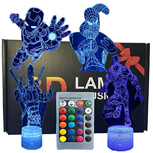 SNOMYRS Lámpara de luz nocturna 3D de los vengadores de ilusión superhéroe, cuatro patrones de Iron Man/Spiderman/Black Panther/Deadpool 16 colores cambiantes con control remoto