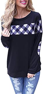 Women's Long Sleeve Plaid Shirt Crew Neck Elbow Patches Pullover Sweatshirt Winter Warm Blouse Tops