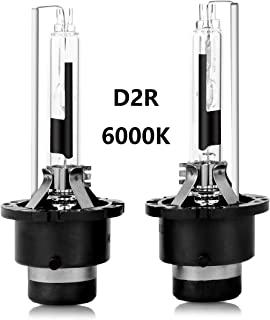 D2R HID Xenon Headlight Replacement Bulbs 35W 6000K High And Low Beam ZRSJ Car Headlights (Pack of two bulbs) - 2 Year Warranty (6000k, D2R)
