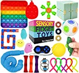 two little dinos Fidget Toy Set with Pop It - 25pc Cheap Sensory Pack for Toddlers, Kids, and Teens - Toddler-Friendly Stim Toys for Stress Relief - Autism, ADHD, Anxiety - Storage Box Included
