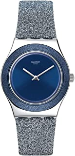 Swatch st. Steel Quartz Synthetic/Leather Strap, Blue, 16 Casual Watch (Model: YLS221)
