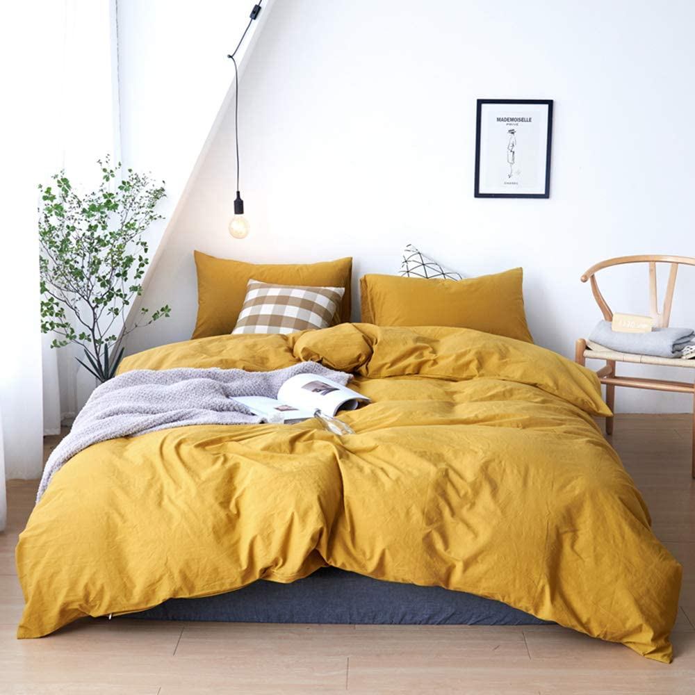 DONEUS Yellow Washed Cotton Duvet Cover Set Queen(90 x 90 Inches), 3 Pieces Solid Pattern Bedding Set(1 Duvet Cover + 2 Pillow Shams), Super Soft Duvet Cover with Zipper Closure, Corner Ties