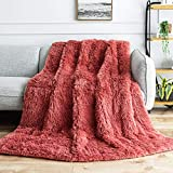 Weighted Blanket 20lbs, Uttermara Faux Fur Super Soft Plush Fleece and Cozy Sherpa Reverse, Shaggy Long Fur Throw Blankets 60'x80' Blush Pink