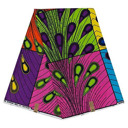 Kamenda Afrika-Druck, Batik-Patchwork, 100 % Baumwolle, echtes holländisches Wachsstoff, für Partykleid, afrikanisches Ankara, Pagne, Nähmaterial, ca. 6 Meter
