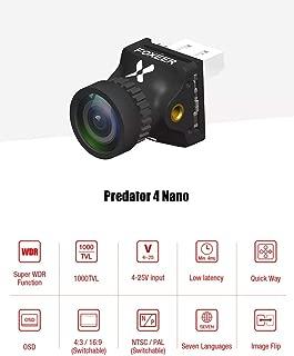 Foxeer Predator 4 Nano Super WDR 4ms Low Latency 1000TVL FPV Racing Camera 4:3/16:9 NTSC/PAL Switchable w/OSD for 2/3/4 inch 100 110 120 130 Micro Quad Carbon Fiber FPV Racing Quadcopter Drone Frame