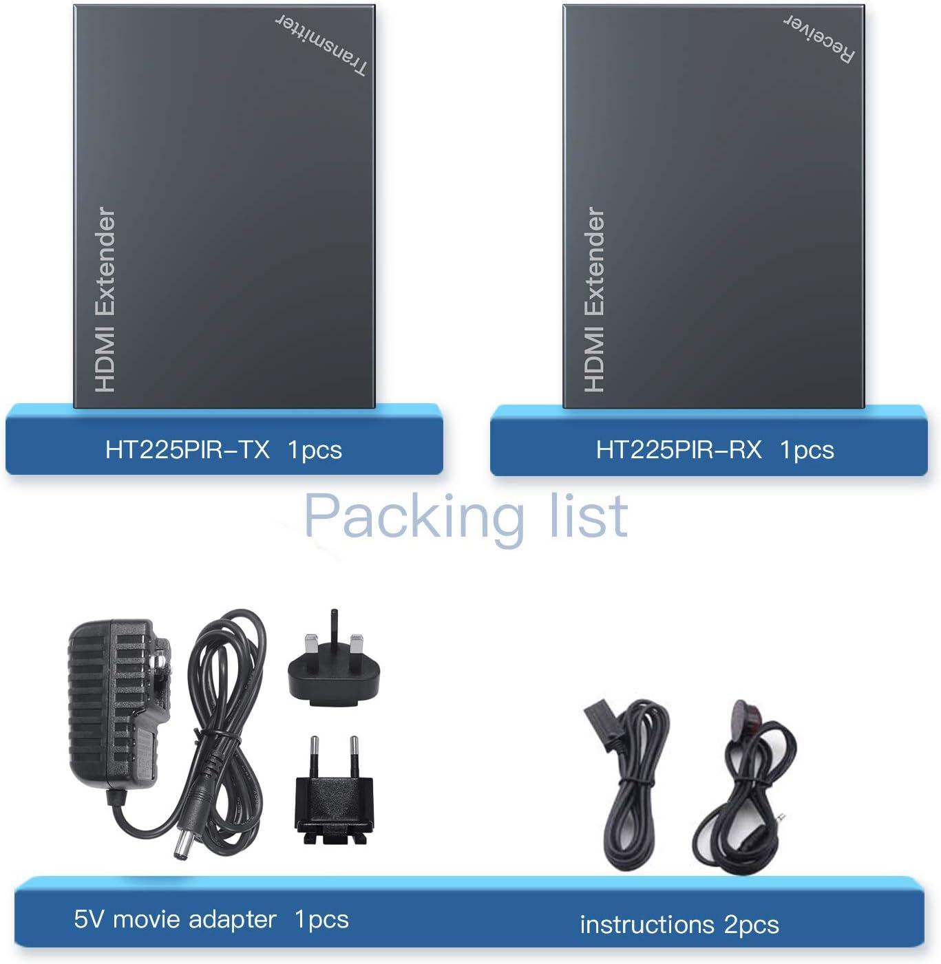 Cat 7 Transmision sobre Soporte De Full HD 1080P 3D EDID uno Power Supply UTP+RJ45+Transmisor+Receptor Cat6 HDMI Extender Extensor 165ft//50m Sin Comprimir Solo Cat5e