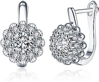 Orecchini a bottone placcati oro bianco da Donna, orecchini a forma di margherita con zirconi cubici, gioielli per donne e...