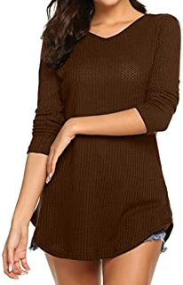 Sunmoot Clearance Sale Sexy Button Blouse for Womens Long Sleeved V-Neck Solid Tops Shirt Pullover