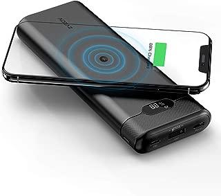 AIDEAZ Cargador portátil inalámbrico de 20000 mAh, visualización LCD, Entrega de energía de 18 W Compatible con Carga rápida, Pequeño, Black 20000mAh