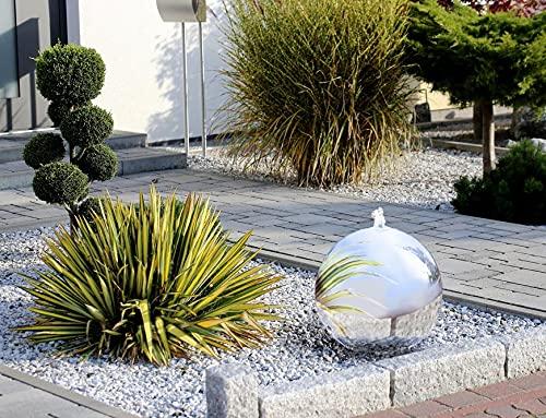 Gartenbrunnen/Zierbrunnen in Plastik-Schale zum Vergraben mit rostfreier Edelstahl-Kugel, inkl. Pumpe & LED Wasserspiel Garten/Teich/Terasse 52*60cm, Durchmesser Kugel 40cm