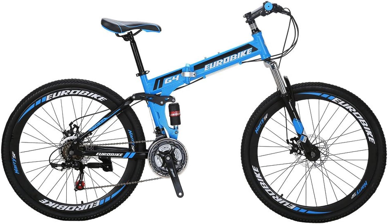 b5b1a0302e70 EUROBIKE G4 Mountain 21 Folding Bike 26 inches Dual Suspension ...