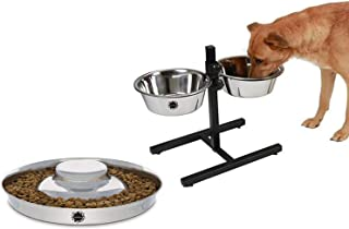 King International Stainless Steel Pet/Dog Bowl with Stand Set of 2pcs with Puppy Bowl Set o 1pcs