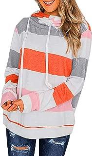 Womens Color Block Striped Sweatshirt Crewneck Long Sleeve Loose Pullover Tops