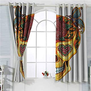 hengshu Day of The Dead Decor Soundproof Curtains for Bedroom Spanish Festive Skull Mask Like with Image of Gems Ivy Sliding Curtains for Patio Decor W96 x L96 Inch Yellow Marigold and Red