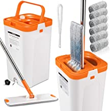 Flat Squeeze Mop and Bucket Set with 3PCS Microfiber Pads for Floor Cleaning Self Wring Mop and Bucket System Separate Dir...