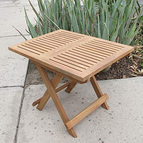 kingrattan.com Natural Teak Folding Picnic Side Table