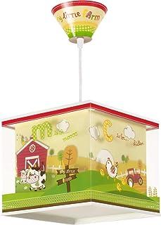 Dalber 64402 My Little Farm, Lámpara colgante Pequeña granja de animales, E27, Clase de eficiencia energética A++ a C