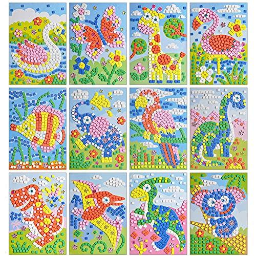 Queta Pegatinas de Mosaico para Niños Conjunto de 12 Dibujos Animados de Mosaico, Mosaicos Adhesivos de Arte Hecho a Mano DIY Kits de Artesanía de Manualidades para Niños Juguetes Educativos (Tipo-2)