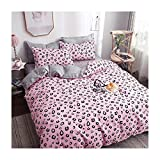 Epinki Bettwäsche Sets 4 Teilig aus Polyester, Bettlaken & Bettbezug & 2 x Kissenbezügen Leopard Muster Atmungsaktiv Bettwaren-Sets Rosa
