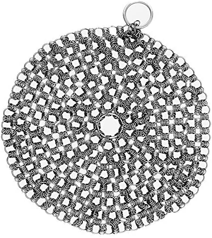 Kitchensera Cast Iron Cleaner Pack of 1 Stainless Steel 7 inches Chainmail Scrubber Durable product image