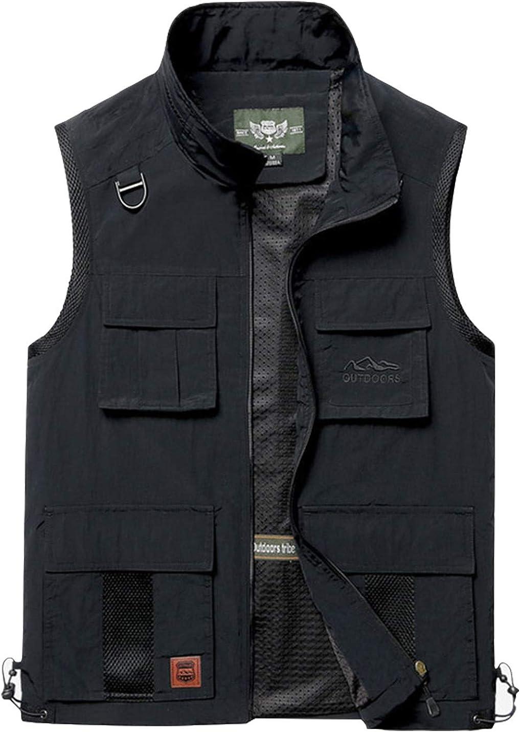 Gihuo Men's Lightweight Outdoor Fishing Travel Zip Vest