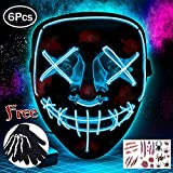 Aynsv Halloween Masque LED Allume Masque Effrayant Masque pour Festival Cosplay -...