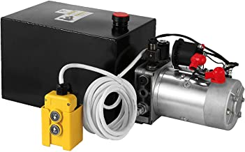 Mophorn 12 Quart Single Acting Hydraulic Pump 12V Hydraulic Power Unit with Steel Reservoir for Dump Trailer Truck Car Lift Unit