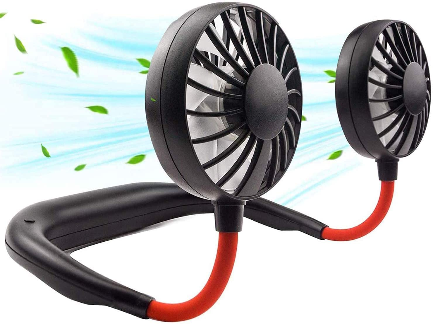 Portable Neck Fan, Hand Free Personal Hanging Neck Sports Fan USB Rechargeable (3 Speed Adjustable) Wearable Cooling Head Fan,360 Degree Free Rotation for Traveling, Sports, Office, Reading