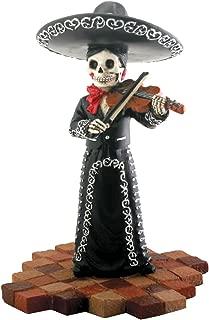 Skeleton Skull Black Mariachi Band Violin Figurine Collectible