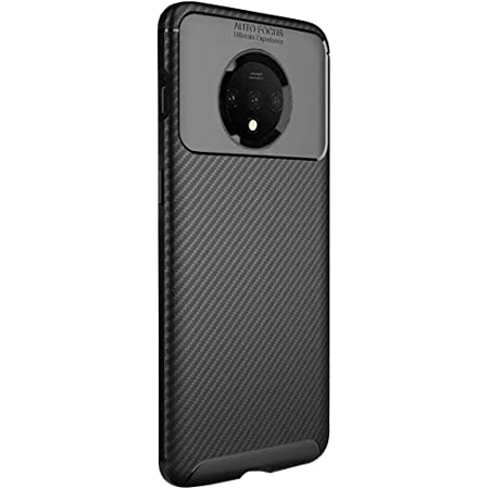 TheGiftKart Rugged Carbon Fibre TPU Armor Back Cover Case for OnePlus 7T (Black)
