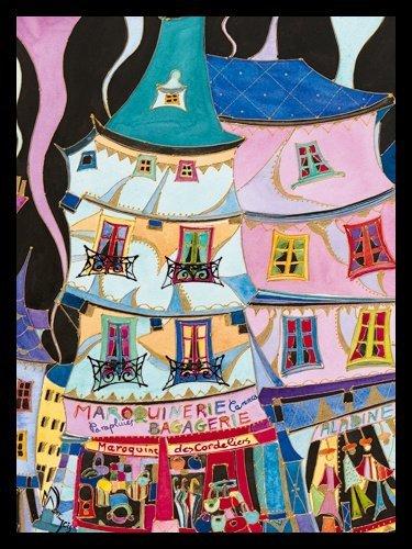 Bild mit Rahmen Martine Wentzeis - La maroquinerie - Digitaldruck - Holz schwarz, 60 x 79.8cm - Premiumqualität - Stadt, Gebäude, Häuser, Geschäfte, Lederwarengeschäft, Frankreich, fröhlich, .. - MADE IN GERMANY - ART-GALERIE-SHOPde