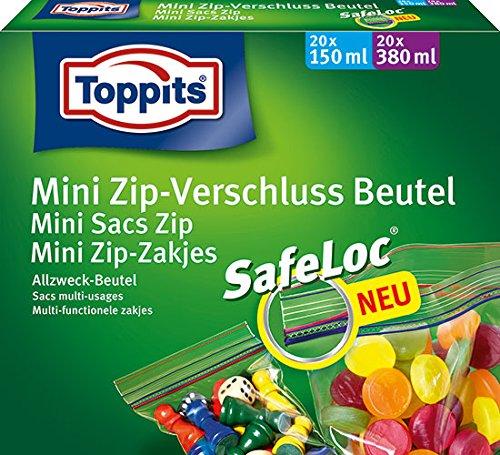 Toppits Ziploc Mini Zip-Verschlußbeutel Sortimentsbox (20 x 150 ml, 20 x 380 ml) - 6X 40 Beutel