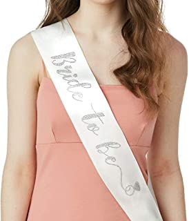 YULIPS Bride to Be Sash - Bachelorette Party Sash Bridal Shower Hen Party Wedding Party Accessories (White&Rhinestone)