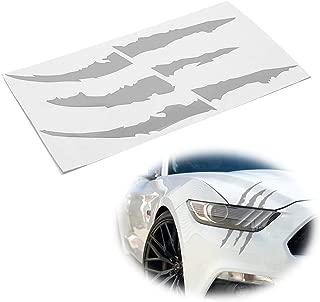 iJDMTOY (1) Reflective Silver Headlight Eye Scar or Claw Scratch Shape Vinyl Decal Set For Car Truck SUV
