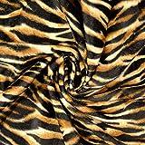 Stoffe Schulz | Fellimitat Tiger, beige/braun | Meterware