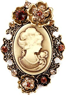 Brooch Pins Gold For Women Vintage Fashion Cameo Antique Rhinestone Brooch Daily Creation Aesthetic Beauty Girls Woman Cheap Design Style | color - Gold