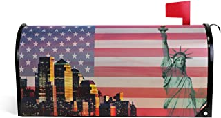 MOFEIYUE NY City Statue Liberty USA Flag Magnetic Mailbox Cover for Home Garden Yard Deco Makeover Mail Wrap
