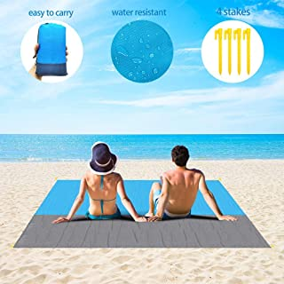 """DAWNDEW Sand Free Beach Blanket,Picnic Beach Mat 83""""X79"""" Oversized Lightweight Waterproof Portable Beach Mat for Travel,Camping,Hiking and Music Festivals with Quick Drying Heat Resistant"""