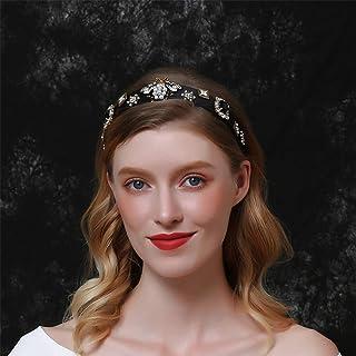 Aimimier Baroque Crystal Headband Vintage Bridal Pearl Gemstone Floral Crown Luxury Rhinestone Wide Hair Hoop for Wedding