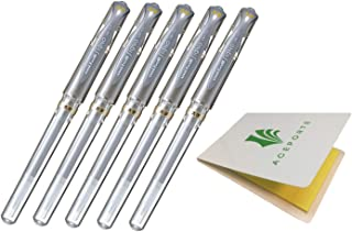 Uni-Ball UM153 Signo Broad Point Gel Pen - Best and Smooth Premium Ink Flow Gel pen. Color Silver - Pack of 5, Sticky notes Value Set