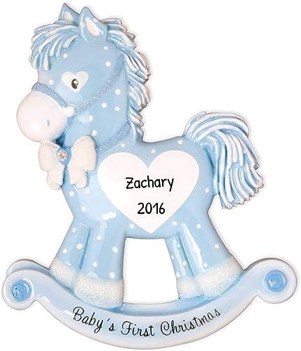 Personalized Baby's First Christmas Rocking Pony Boy Tree Ornament 2020 - Glitter Blue Polka Dot Horse Heart New Mom ...
