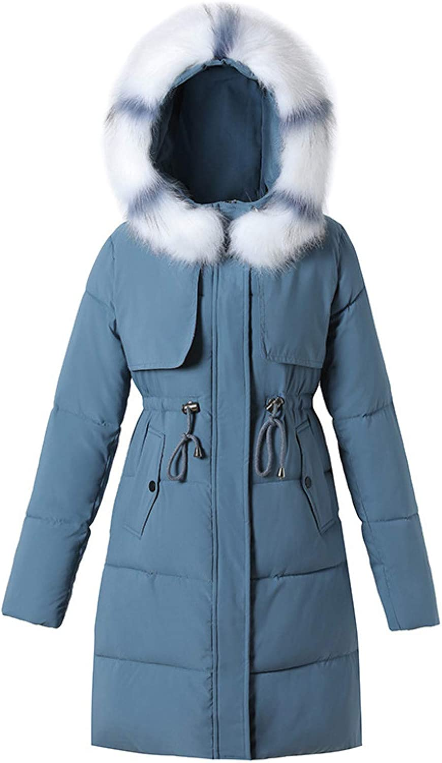 Womens Faux Fur Trim Hood Padding Outerwear , Ladies Quilted Cotton Padded Winter Coat with Pockets
