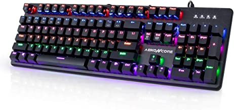 ABKONCORE 100% Mechanical Hot Swappable Gaming Keyboard K595, Full Key Rollover Wired USB Rainbow LED Backlit, 104 Keys Splash-Proof GTMX Blue Switches for Gaming, Work, Home, Office, PC, Mac, Windows