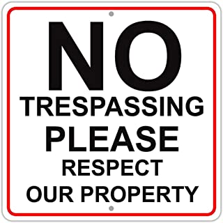 Stayaway No Trespassing Please Respect Our Property Aluminum Metal 12x12 Sign Privacy Stay Private Outdoor Yard House Giant Land Center Abuser Out Residential Signs Notice Medal Weapons Away Message
