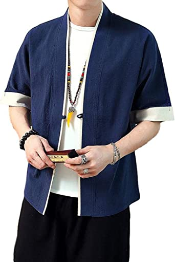 Idopy Camisa Tradicional Japonesa para Hombre Kimono Cardigan ...