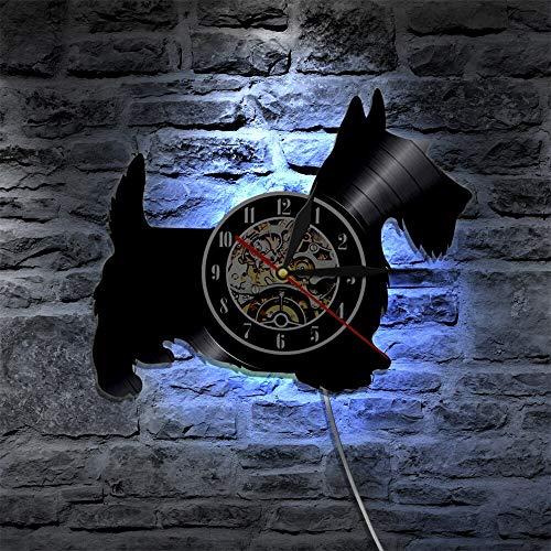 Scotty Dog - Reloj de pared de vinilo cortado con láser, diseño de animales, estilo vintage, para colgar en el hogar, regalo para amantes de los perros, luces LED