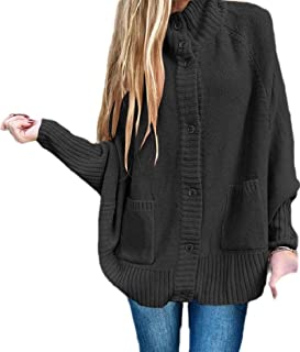 Womens Long Sleeve Warm Loose Open Front Batwing Knit Cardigan Sweater