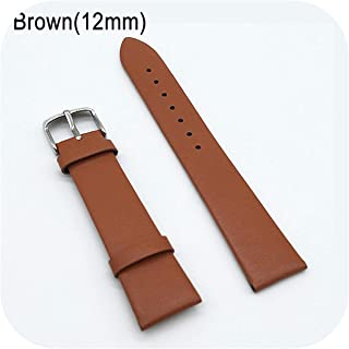 watchbands Grains 12/14/16/18/20/22mm Watch Band Strap Cow Leather Watchband for Men Women-Brown-20mm