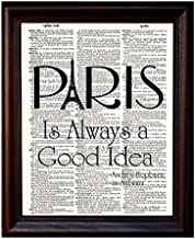 Dictionary Art Print - Audrey Hepburn Quote Paris - Printed on Recycled Vintage Dictionary Paper - 8